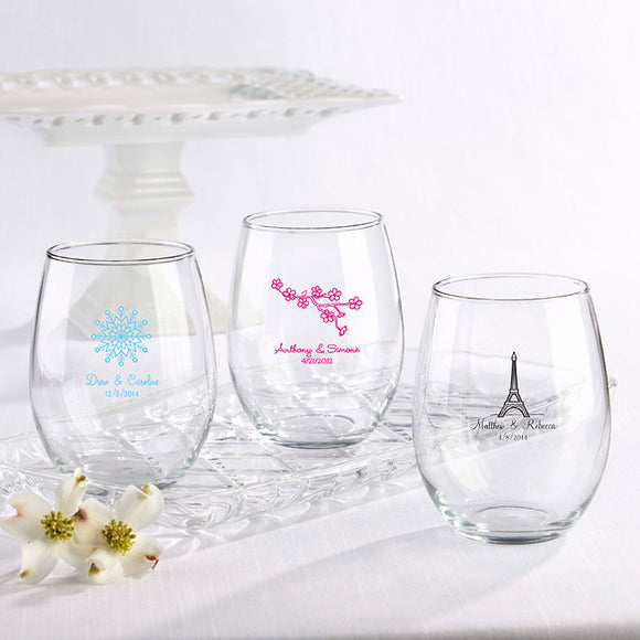 Personalized 15 oz. Stemless Wine Glass - Wedding - InCasaGifts