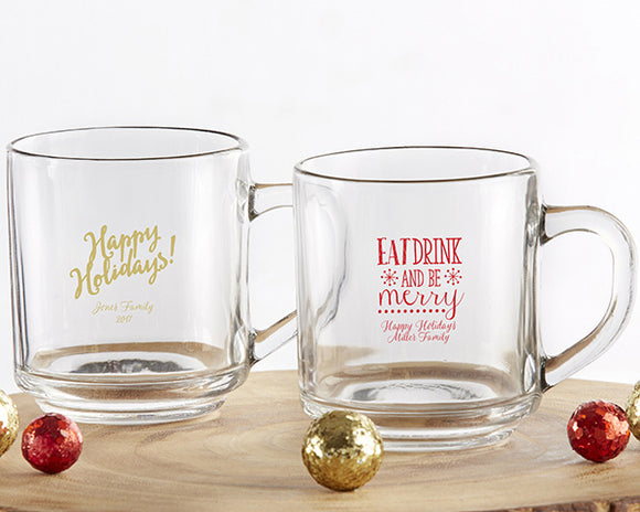 Personalized 10 oz. Glass Coffee Mug - Holiday - InCasaGifts