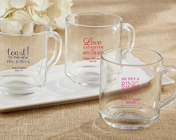 Personalized 10 oz. Glass Coffee Mug - Wedding