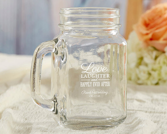 Personalized 16 oz. Mason Jar Mug - Wedding