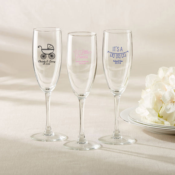 Personalized Champagne Flute - Baby Shower