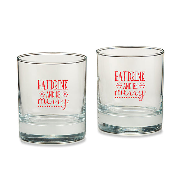 Eat, Drink & Be Merry 9 oz. Rocks Glass (Set of 4) - InCasaGifts