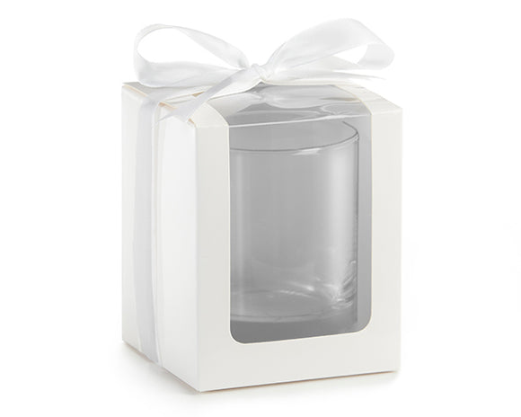 White 9 oz. Glassware Gift Box with Ribbon (Set of 12) - InCasaGifts