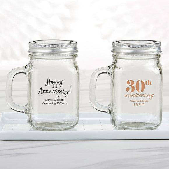 Personalized 12 oz. Mason Jar Mug - Anniversary - InCasaGifts