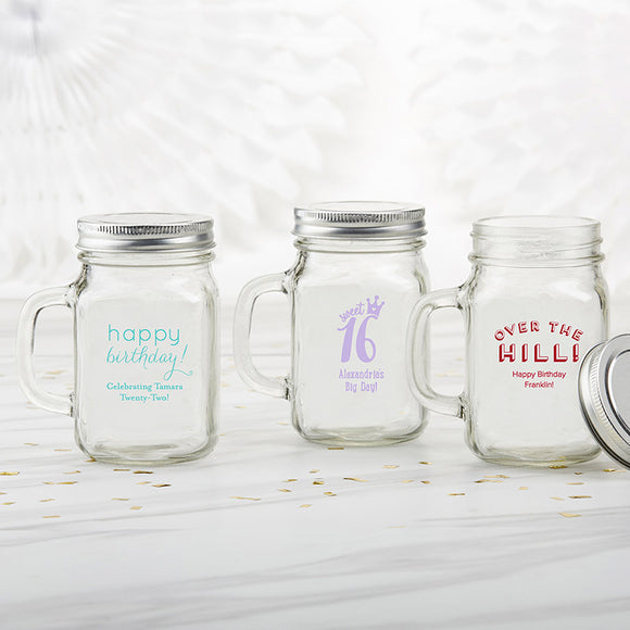 Personalized 12 oz. Mason Jar Mug - Birthday