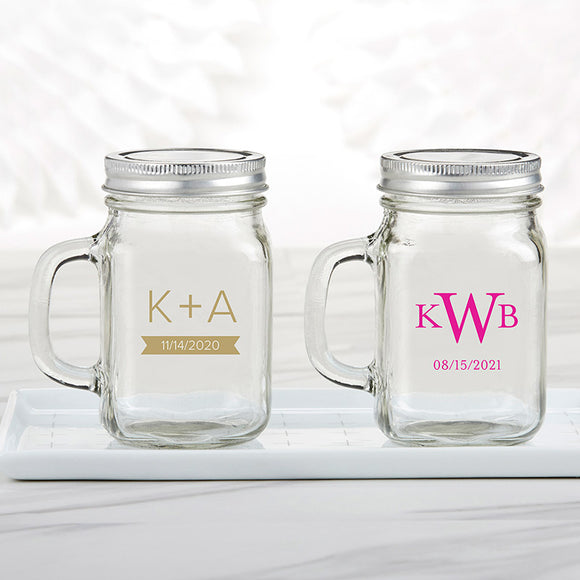 Personalized 12 oz. Mason Jar Mug - Monogram - InCasaGifts