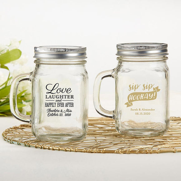 Personalized 12 oz. Mason Jar Mug - Wedding - InCasaGifts