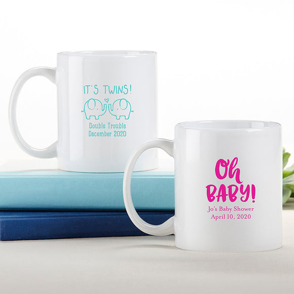Personalized 11 oz. White Coffee Mug - Baby Shower