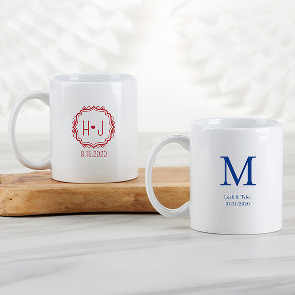 Personalized 11 oz. White Coffee Mug - Monogram