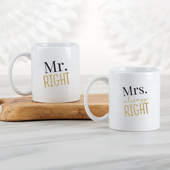 Mr. Right & Mrs. Always Right 11 oz. White Coffee Mug (Set of 2) - InCasaGifts