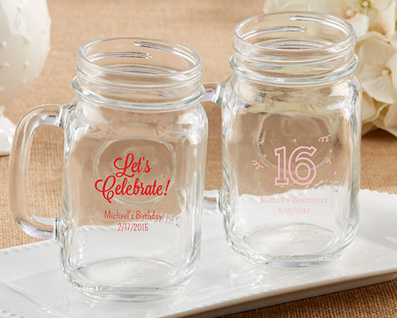Personalized 16 oz. Mason Jar Mug - Birthday