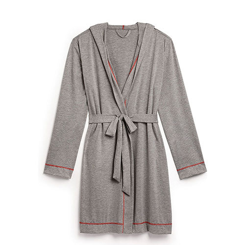 Women's Grey Hooded Spa & Bath Robe - Red Stitching Large / X-Large