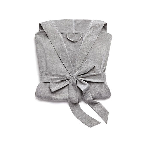 Women's Grey Hooded Spa & Bath Robe - White Stitching Small / Medium - InCasaGifts