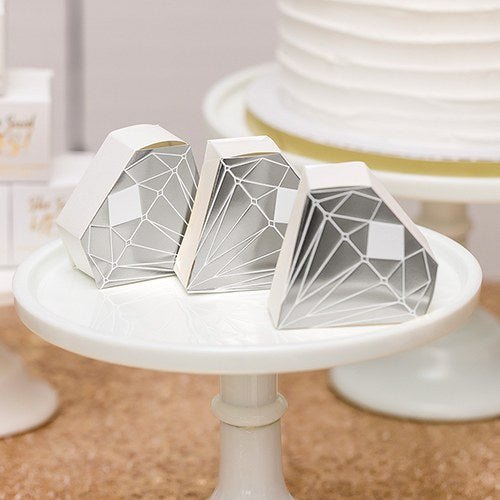 Diamond Favor Box with Metallic Silver