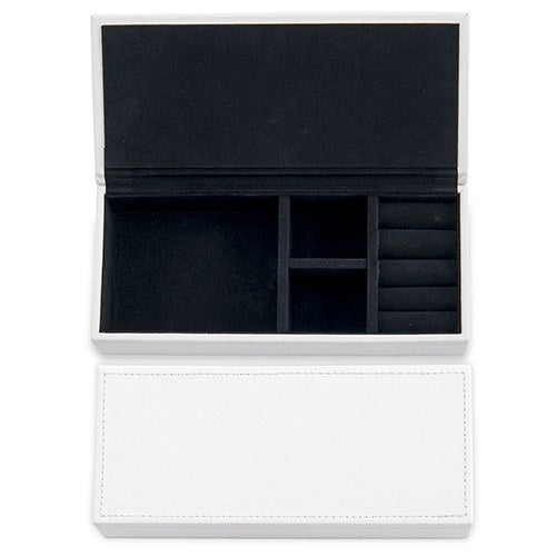 Vegan Leather Jewelry Box - White with Black