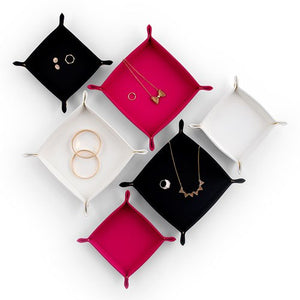 Vegan Leather Jewelry Tray Small Fuchsia