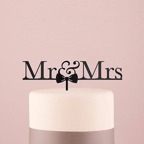 Mr & Mrs Bow Tie Acrylic Cake Topper - Black - InCasaGifts