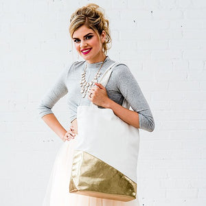 Large Gold & White Cotton Canvas Fabric Tote Bag