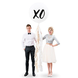 "Extra Large 36"" White Round Wedding Balloons - XO"