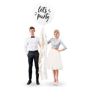 "Extra Large 36"" White Round Wedding Balloons - Let's Party"