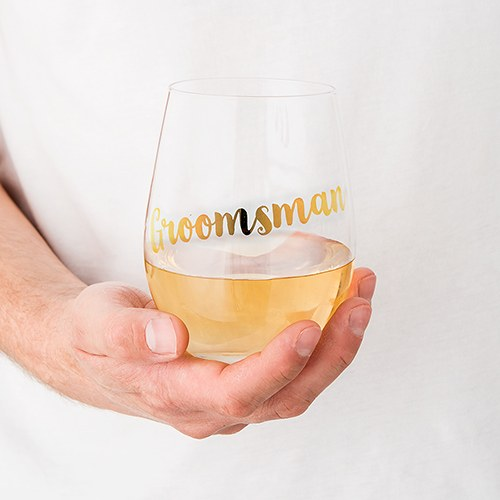 Stemless Toasting Wine Glass Gift for Wedding Party - Groomsman - InCasaGifts