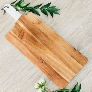 Wooden Cutting & Serving Board with White Handle - InCasaGifts