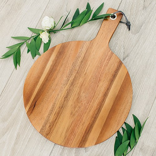 Wooden Round Cutting & Serving Board with Handle - InCasaGifts