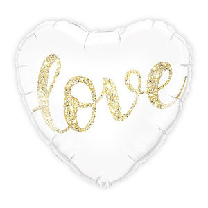 Mylar Foil Helium Party Balloon Wedding Decoration - White and Gold Love Glitter Heart