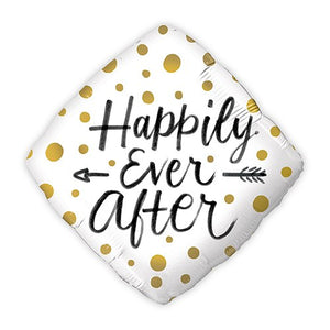 Mylar Foil Helium Party Balloon Wedding Decoration - Gold Polka-Dot Happily Ever After - InCasaGifts