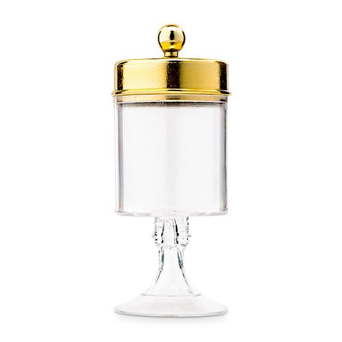 Small Clear Plastic Wedding Favor Container Set - Cylinder Cup with Gold Lid