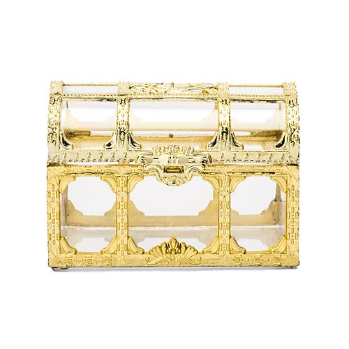 Small Clear Plastic Wedding Favor Container Set - Gold Treasure Chest - InCasaGifts