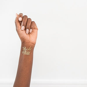 Gold Bachelorette Party Temporary Tattoos - Bride Tribe