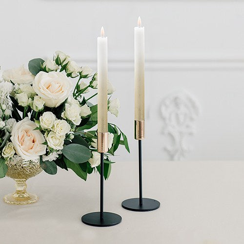 Artificial Flameless LED Taper Candle Set of 2 - Gold Ombre