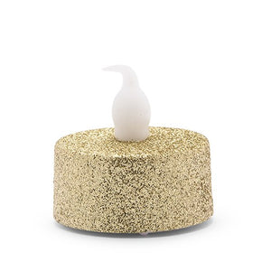 Artificial Flameless LED Tealight Candle Set of 4 - Gold Glitter