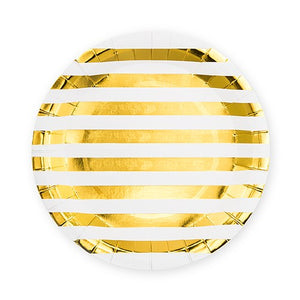 Large Round Disposable Paper Party Plates - Gold Stripe - Set of 8