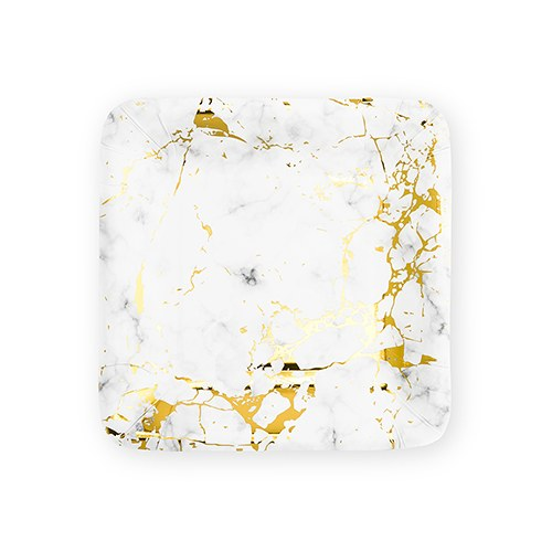 Small Square Disposable Paper Party Plates - Geo Marble - Set of 8 - InCasaGifts