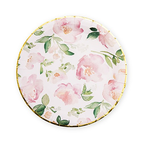 Large Round Disposable Paper Party Plates - Floral Garden Party - Set of 8