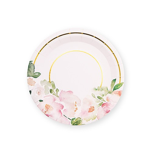 Small Round Disposable Paper Party Plates - Floral Garden Party - Set of 8 - InCasaGifts