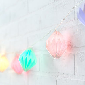 Decorative Battery Operated LED String Lights - Geo Paper Lantern