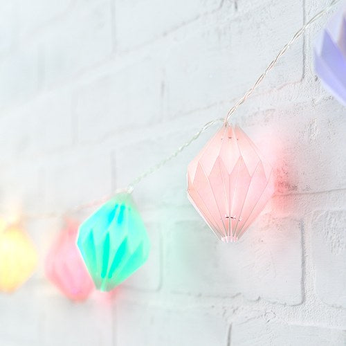 Decorative Battery Operated LED String Lights - Geo Paper Lantern - InCasaGifts
