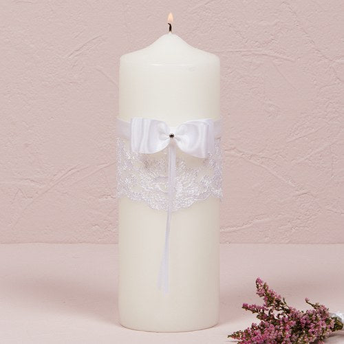 Beverly Clark French Lace Collection Unity Candle White