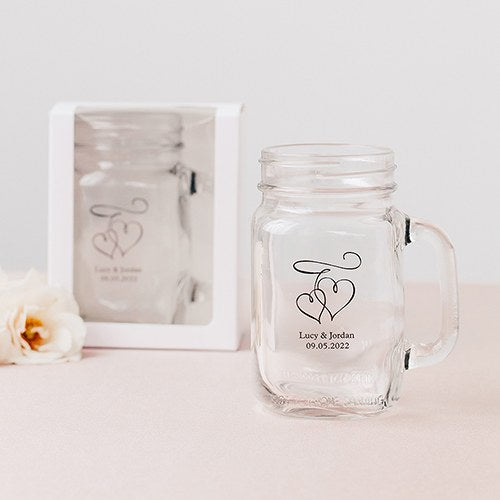 16 oz Mason Jar Drinking Glass Gift Box with Clear Window - White - InCasaGifts
