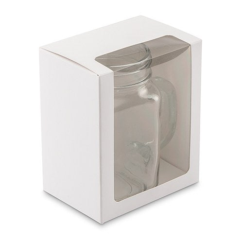12 oz Mason Jar Drinking Glass Gift Box with Clear Window - White - InCasaGifts