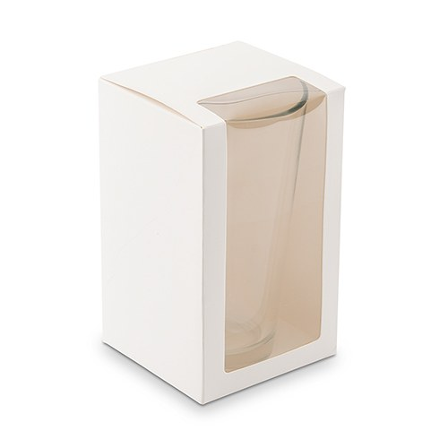 Pint Glass Gift Box with Clear Window - White - InCasaGifts