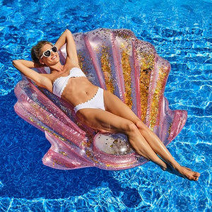Giant Inflatable Pool Float Toy - Iridescent Seashell