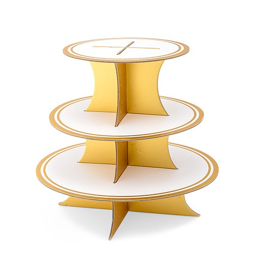 3 Tier Cardboard Cupcake Display Stand - White & Gold - InCasaGifts