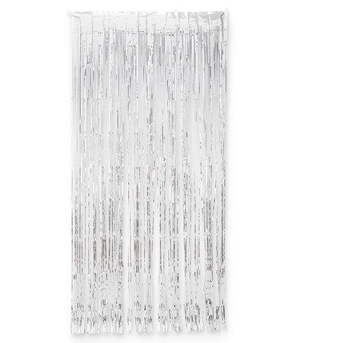 Metallic Foil Fringe Curtain Photo Backdrop - Silver - InCasaGifts