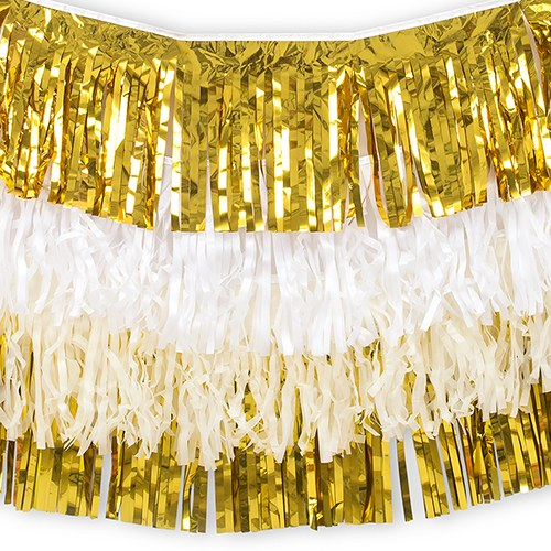 Tissue Paper & Metallic Foil Layered Fringe Garland Decoration - Gold & White - Set of 4 - InCasaGifts