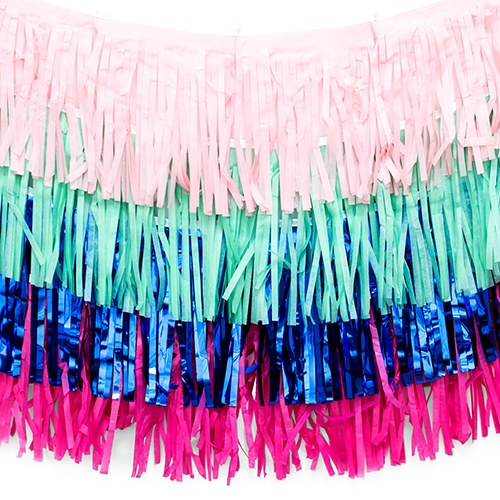 Tissue Paper & Metallic Foil Layered Fringe Garland Decoration - Navy Blue, Pink & Teal - Set of 4 - InCasaGifts