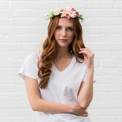 Bridal Party Flower Crown Wreath - Light Pink Dahlia Medley - InCasaGifts